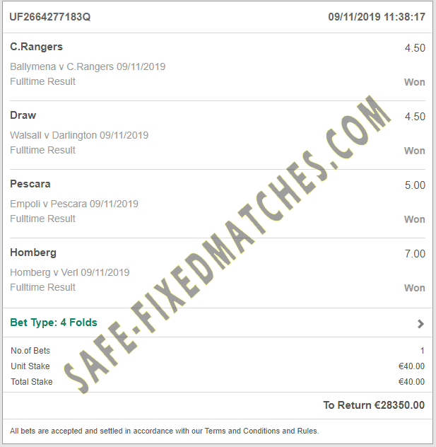 Vip ticket fixed matches 100% sure big odd