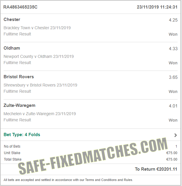 fixed matches big odd 100% sure