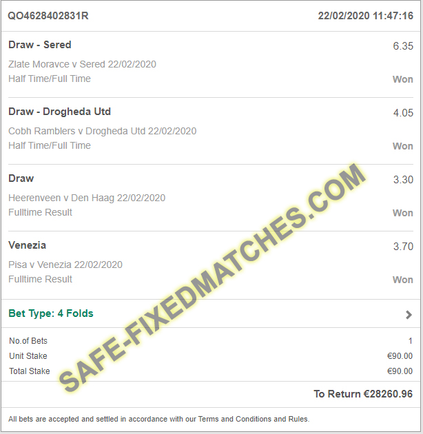 betting soccer safe fixed match